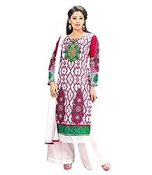 Admyrin Women Cotton Dress Material (Ay-Sk-Fg-7006 _White+Pink)