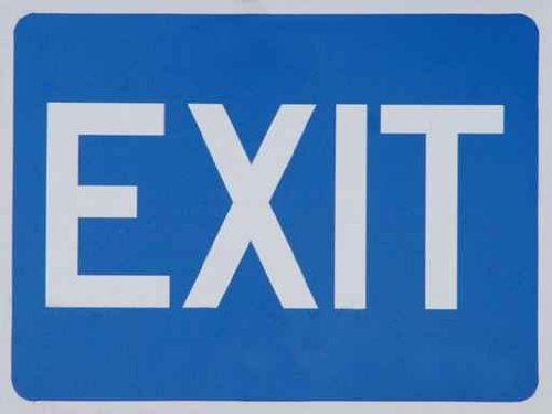 Urban Wall Decals Blue Exit Sign - 18 Inches X 14 Inches - Peel And Stick Removable Graphic
