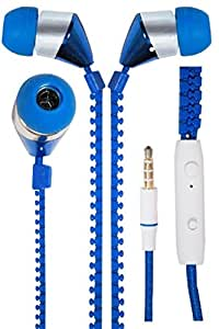 JIYANSHI stylish zipper earphone blue Compatible with Karbonn Mobile K10+