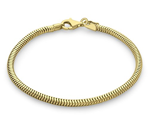 Carissima Gold 9 ct Yellow Gold Curved Snake Chain Bracelet of 19 cm/7.5-inch