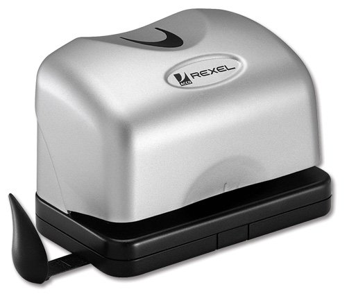 Rexel EP212 Punch 2-Hole Electric Compact Battery-operated Capacity 12x 80gsm Silver Ref 2101180