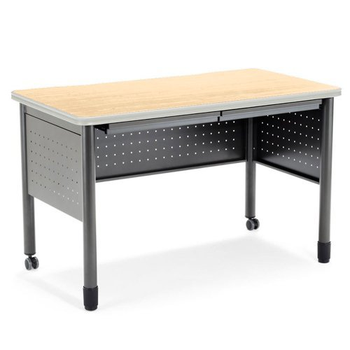 Table Desk With Drawers 47w Cherry Top Finishgray Base