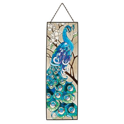 Design Toscano Jb403 Peacock'S Pageantry Hand-Painted Art Glass Panel