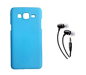 SAMSUNG Galaxy J2 MOCELL Blue Hard Back Case Cover With 3.5mm Super Sound Quality Earphone with Mic Combo