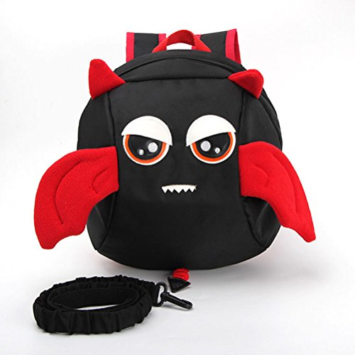 Generic Kids Bag For Boys Girls Baby Backpack Anime Schoolbags Lunch Box Backpack Cartoon Anti-lost Kids Backpack Devil Wing Backpack-Black Small Demon