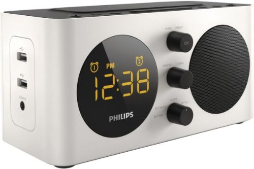 Philips-AJ600012-Radiowecker-2-USB-Anschlsse-zum-Aufladen-von-TelefonenTablets-Digitaltuner-Dual-Alarm-Sleeptimer-weischwarz