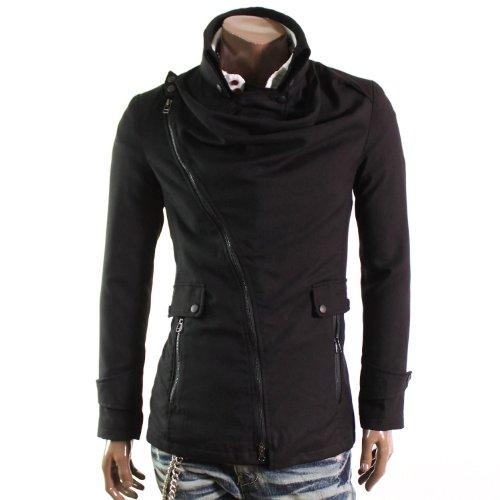 Mens Casual Hooks Collar Zipup Jacket BLACK(HCJ)