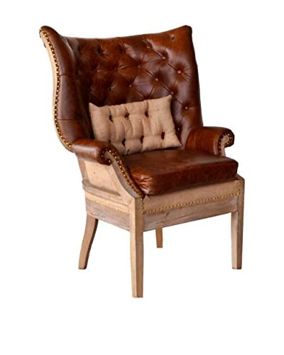 Huntley Wing-Back Leather Chair, Brown/Tan