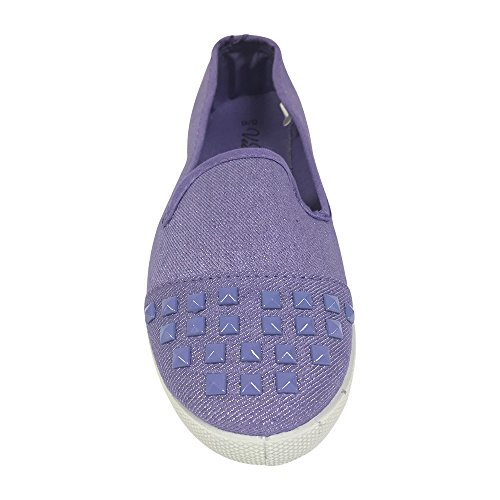 Womens Denim Slip on Flats with Canvas Toe Cap and Matching Pyramid Studs - Lilac Large (Cloth Ninja Shoes compare prices)