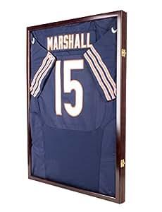 Football / Baseball Jersey Display Case Shadow Box Frame with UV Protection Door & Hanger (JC04-MA)- MAHOGANY FINISH