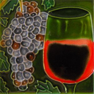 Red Grapes and Wine Glass Decorative Ceramic Wall Art Tile