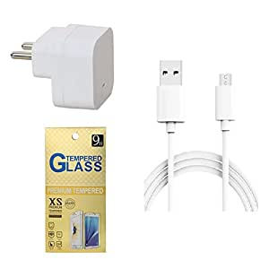 13Tech 1.0 Amp USB Charger+3 mtr Copper (Data Transfer+Charging) Cable +Tempered Glass for Lava Iris X1
