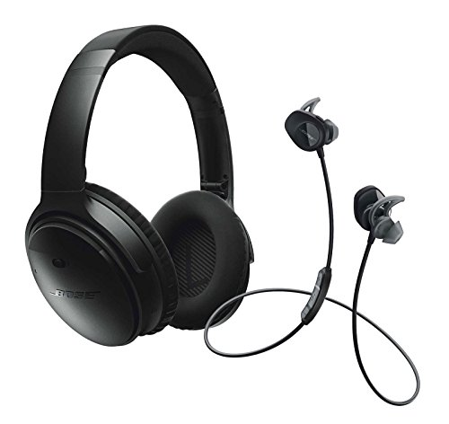 Bose QuietComfort 35 Noise Cancelling Over-ear (Black) & SoundSport In-ear (Black) Wireless Bluetooth Headphone Bundle