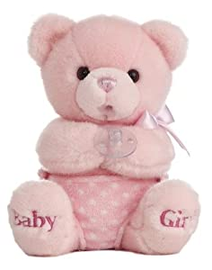 "Aurora World Comfy Diaper Wind-up Musical 10"" Baby Girl Bear (Pink)"