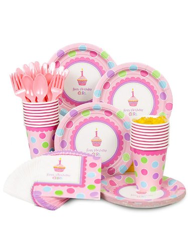 Best Prices! Cupcake 1st Birthday Girl Standard Kit Serves 16 Guests