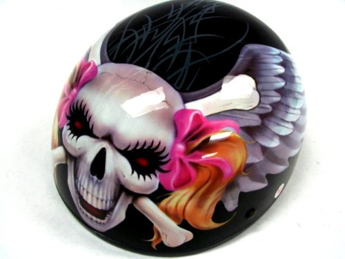 Skull Motorcycle Helmet Grand Sales Girl Biker Skull Angel Wing - Motorcycle helmet decals for ladies