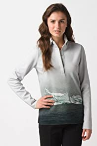 Fashion Show Long Sleeve Pique Double Face Iceberg Print Polo Shirt