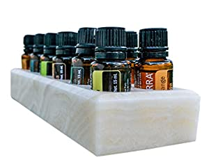 Luxurious Shades Of Stone Essential Oils Holder Carrying Case - Storage And Display Box for 12, 15ml Bottles - Free Matching Tray - 100% Onyx Stone (Creamy Tan)