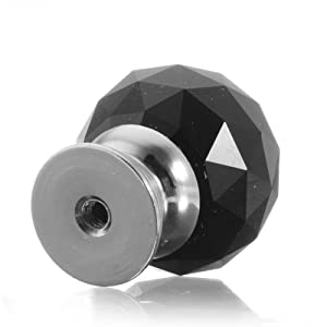 Black 8X Round Crystal Glass Pull Handle Cabinet Drawer Door Knob Wardrobe 30mm by The end Co,.Ltd