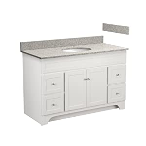 48 inch columbia bathroom vanity combo with meteorite gray granite top