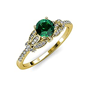 Emerald and Diamond (SI2-I1, G-H) Engagement Ring 1.03 ct tw in 14K Yellow Gold.size 6.5