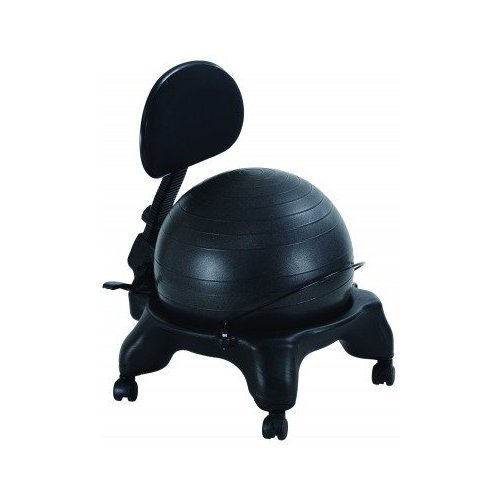 Office Fitness Exercise Ball Chair with Adjustable Back Rest - Black - High-quality Anti-burst Balance Ball