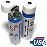 18650 Battery & Integrated USB Charger Rechargeable Lithium Ion - 2 Pack - Li-ion Batteries - NOT AA - 100% Satisfaction 60 Day Guarantee - 2 Year Manufacturer Warranty (2 Pack)