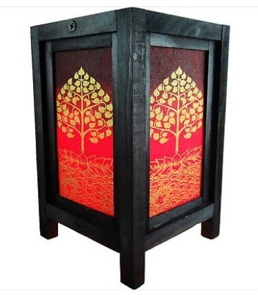 Thai Vintage Handmade Oriental Lotus Peaceful Zen Art Bedside Desk Table Lamp Wood Shades Lights