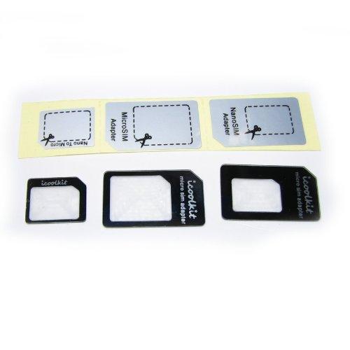 3種類セット/NanoSIMからmicroSIM、SIMカードへの変換アダプター+iPhone4%2F4S+各種SIM対応