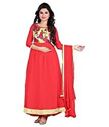 My online Shoppy Women's Georgette Semi Stitched Dress Material (My online Shoppy_116_Peach_Free Size)