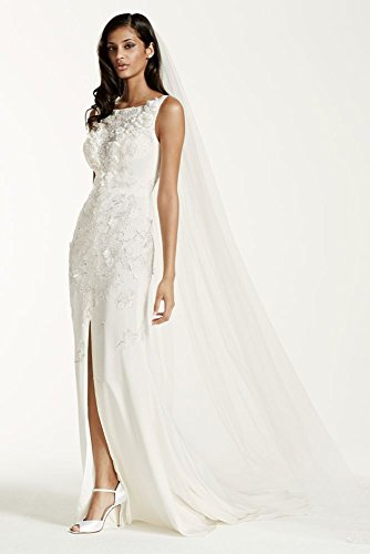 Crepe Sheath Wedding Dress With 3d Flowers And Front Slit Style