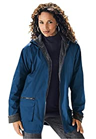 Roamans Women's Plus Size Hooded Nylo…
