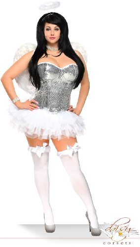 Daisy corsets Women's Glitter Angel Halloween Costume (4 Piece)