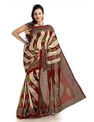 Designersareez Women Bhagalpuri Silk Printed Multicolor Saree With Unstitched Blouse(1124)