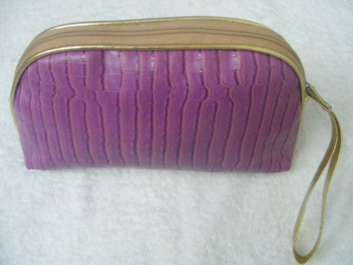 Original Thai Fashion Handbag- Rose colored Glossy Leather Clutch with Gold single Strap Design