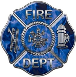 Fire Dept Maltese Cross Blue Inferno Flames - 4