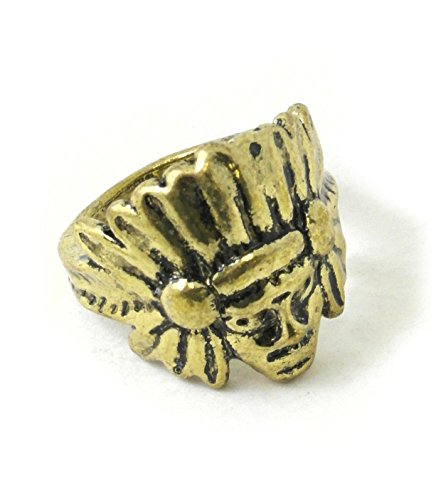 Antique Gold Tone Brass Tribal Feather Headdress Vintage Ring