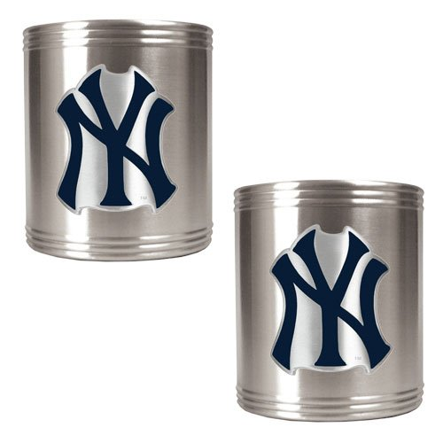 Mlb New York Yankees Two Piece Stainless Steel Can Holder Set- Primary Logo