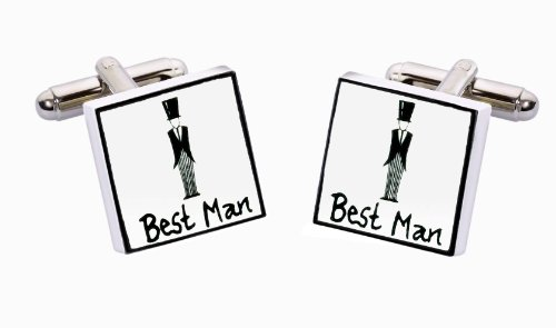 Sonia Spencer England Bone China Square Silver Plated Back Classic Best Man Cufflink