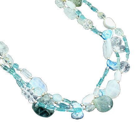 925 Sterling Silver Artisan Aquamarine, Rainbow Moonstone, Pearl, White Topaz Blue Topaz Beads Strand Necklace Size 18 Inches