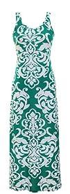 Peach Couture Damask   Print Summer Sleeveless Tank BodyconMaxi