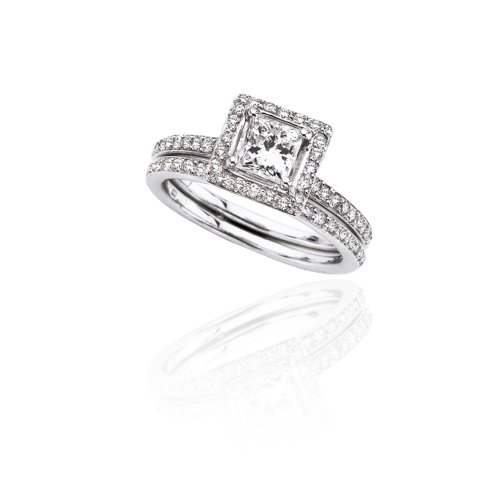 14k White Gold PrincessCut Diamond Engagement Ring with Matching Band (3/4 ct Center 1 1/3 cttw, GH Color, I1 Clarity), Size 5