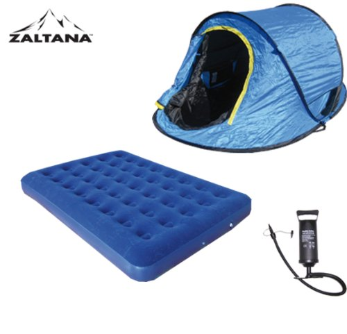 POP UP TENT WITH AIR MATTRESS(DOUBLE) AND AIR PUMP SET