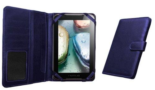 Navitech 7 Zoll bycast Leder flip Trage Case / Cover im Buch Stil für das Chiligreen E-Board HT400 (Chiligreen E-Board HT400, blau)