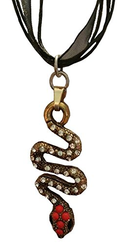 Jafar's Magical Cobra Snake Staff Pendant on a Black Ribbon Choker (Enchanted Wishes Costume)