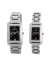 GT Gala Time Stylish Black Rectangle Dial Stainless Steel Couple Watch B-PAIR-005