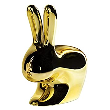 QEEBOO 8052049050180 geformte Sessel Kaninchen, Plastik, gold, 45,3 x 26,2 x 52,7 cm