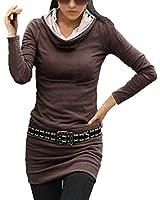 DJT T-Shirt Femmes Manches Longues Slim Fit de Robe Sweat Col Hauts - Femme