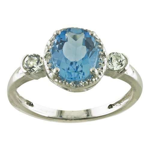 Sterling Silver Oval Blue Topaz, White Topaz and Diamond Ring, Size 6
