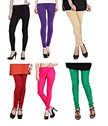 Shiva collections B/PUR/S/R/P/G cotton legging ( SET OF 6)